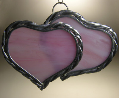 Double large hearts art glass suncatcher in pink