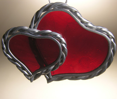 Large and small double heart art glass suncatcher in red