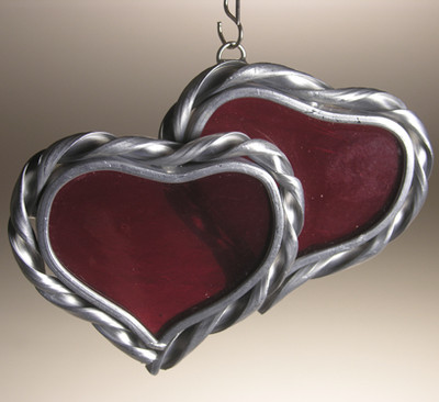 Double heart art glass suncatcher in red - two small hearts