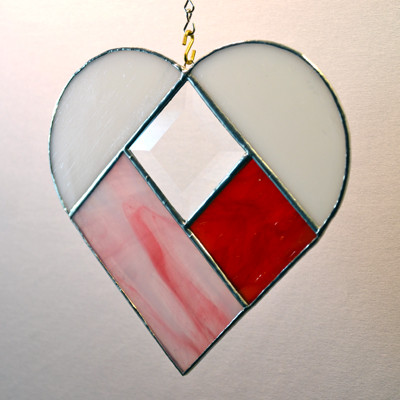 Heart with bevel art glass suncatcher in pink, white, and red
