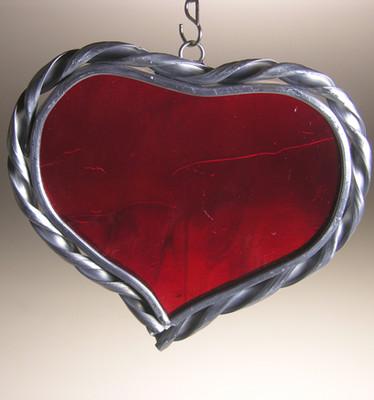 Large single heart art glass suncatcher in red