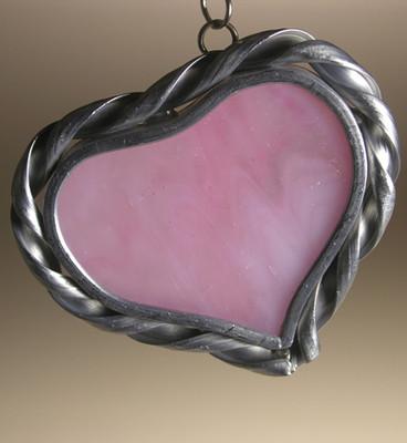 Small Single Heart art glass suncatcher in pink