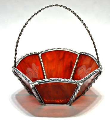 Red art glass Valentine's Day basket with hearts