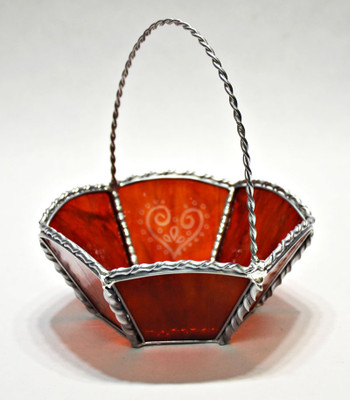 Red art glass Valentine's Day basket with sugar hearts