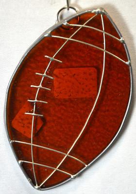Football art glass suncatcher in bronze amber