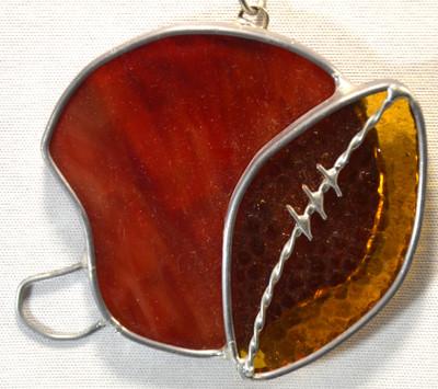 Football and Helmet art glass suncatcher