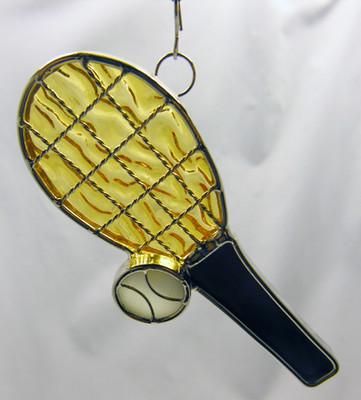 Tennis Raquet with Ball art glass suncatcher
