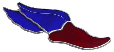 Track Log Shoe with Wings art glass suncatcher