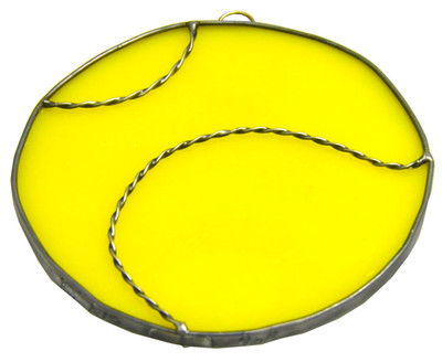 Softball art glass suncatcher in yellow