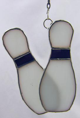 Two Bowling Pins art glass suncatcher