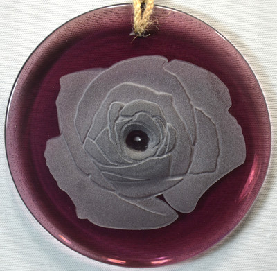 Sandblasted Rose Ornament on Red Rondel