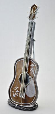 Acoustic Guitar Art Glass Suncatcher on Stand