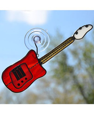 Art glass electric guitar suncatcher in red