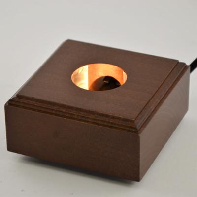 Lighted Square Wood Display Base - Walnut