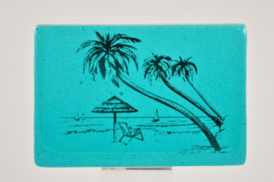 Tropical Beach Scene on Turquoise Dalle Wedge