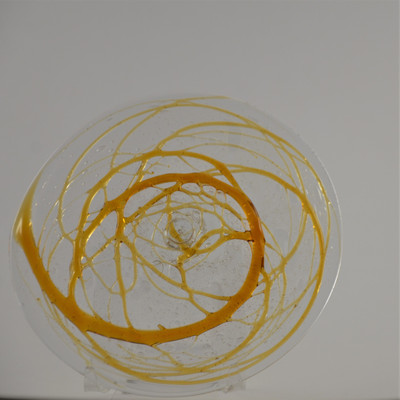"""Blown Rondels - Specialty - 6"""" Clear Seedy with Amber Wacky Wrap"""