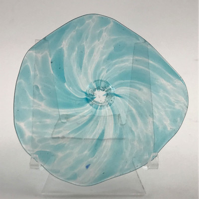 "Blown Rondels - Frit - 4"" Clear with Blue Swirl"