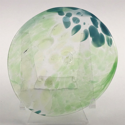 """Blown Rondels - Frit - 4"""" Clear with Green and Blue Swirl"""