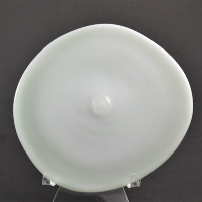 """Blown Rondels - Frit - 4"""" White with Light Green Swirl on Reverse (Pontil Side Shown)"""