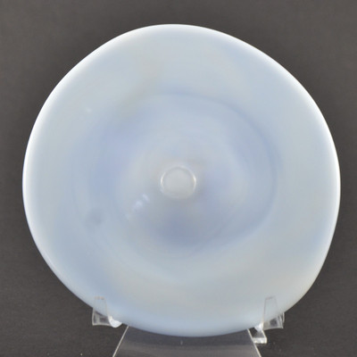 """Blown Rondels - Frit - 4"""" White with Blue Swirl on Reverse Showing Pontil Side"""