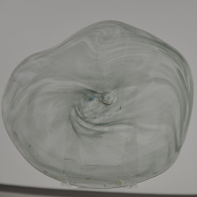 """Blown Rondels - Frit - 7"""" Clear with Gray Swirl"""