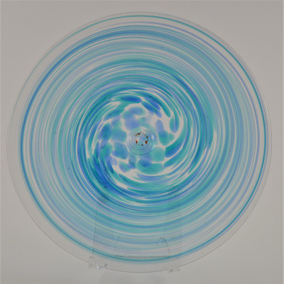 """Blown Rondels - Frit - 8"""" Clear with Turquoise and Blue Swirl"""