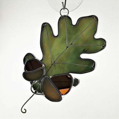 Oak Leaf with Acorns Suncatcher in green, amber, and tan