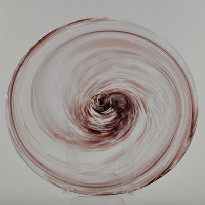 """Blown Rondels - Frit - 8"""" Clear with Purple Cathedral Swirl"""