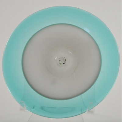 """Blown Rondels - Incalmo - 4"""" 2 Band White and Turquoise"""