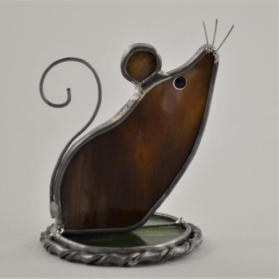Curious Mouse Freestanding Suncatcher in brown opalescent glass