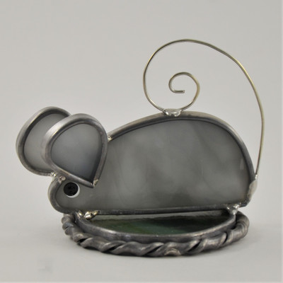 Exploring Mouse Freestanding Suncatcher in gray opalescent glass