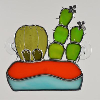 Pot of Cactus Plants art glass suncatcher in greens, orange, and blue