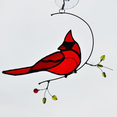 Cardinal on Wire Branch art glass suncatcher