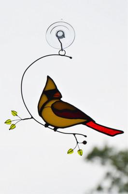 Female Cardinal on Wire Branch art glass suncatcher
