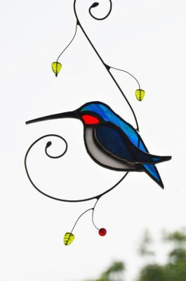 Hummingbird on Wire Branch art glass suncatcher