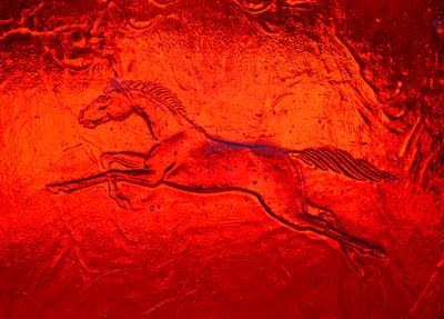 Art sheet glass Horse texture in 41 Cerise Ruby