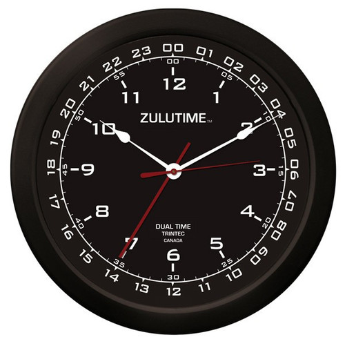 "14"" ZuluTime Dual Time Clock - Black"