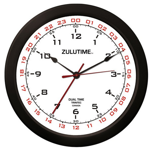 "14"" ZuluTime Dual Time Clock - White"
