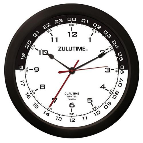 """14"""" ZuluTime Dual Time Clock - White/Black"""