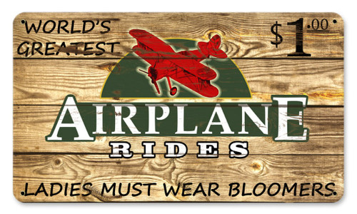 Airplane Rides $1 Vintage Metal Sign