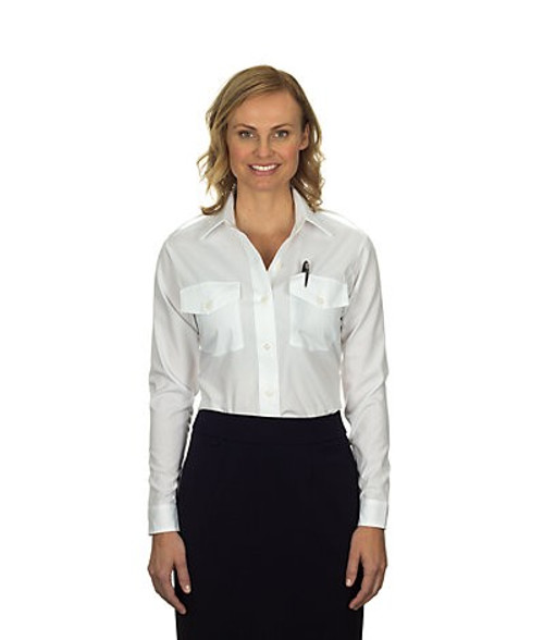Van Heusen Women's Aviator Long Sleeve Shirt - White