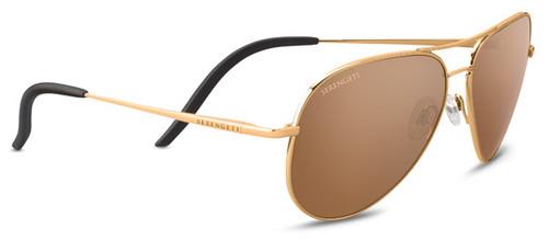 Serengeti Carrara Sunglasses - Shiny Bold Gold, Polarized Drivers Gold