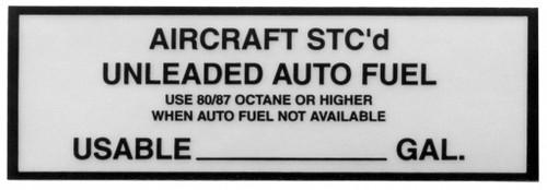 Aircraft STC'D Placard