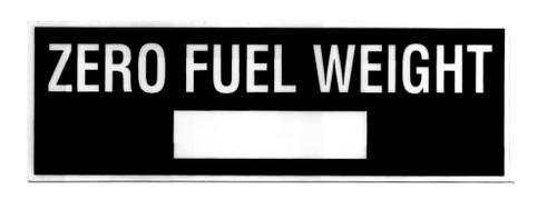 Zero Fuel Weight Placard