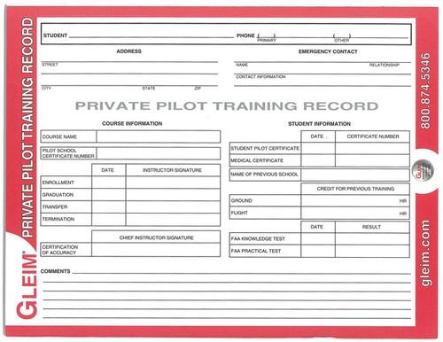 Gleim Private Pilot Training Record