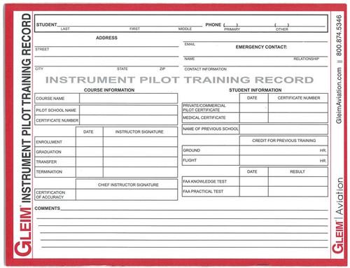 Gleim Instrument Pilot Training Record