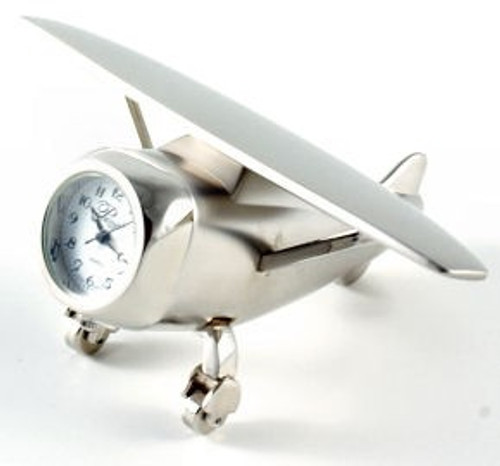 Silver Hi-Wing Airplane Clock