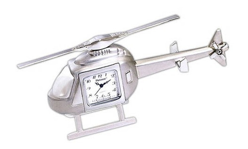 Silver Helicopter Clock