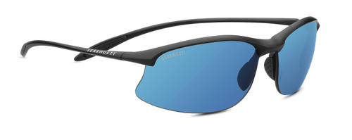 Serengeti Maestrale Sunglasses - Matte Black, Polarized 555nm Blue