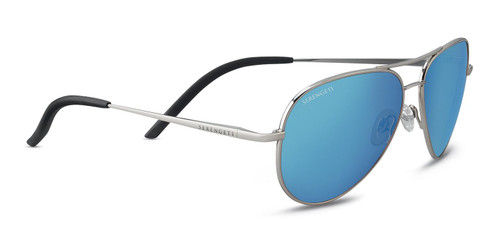 Serengeti Carrara Small Sunglasses - Shiny Silver, Polarized 555nm